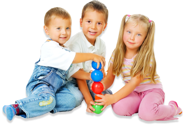 three preschool kids playing