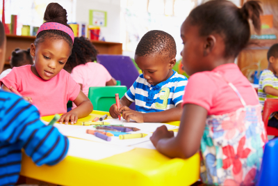Preschool class in South African township