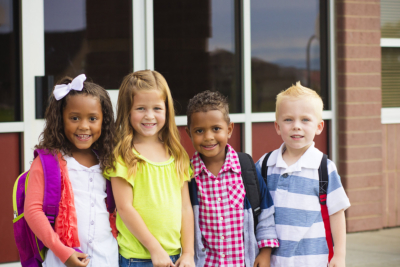 Portrait of Young Kids first day of School